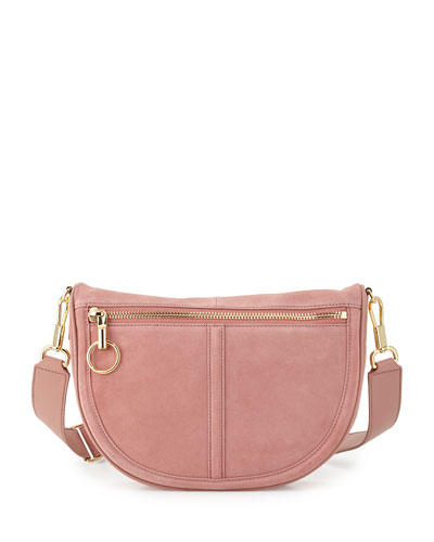 Scott Small Moon Suede Saddle Bag, Rose