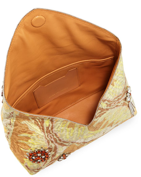 Jeweled Metallic Envelope Clutch Bag