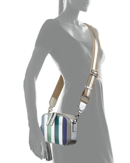 Sophie Snakeskin Camera Crossbody Bag, Blue