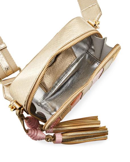 Sophie Snakeskin Camera Crossbody Bag, Pink