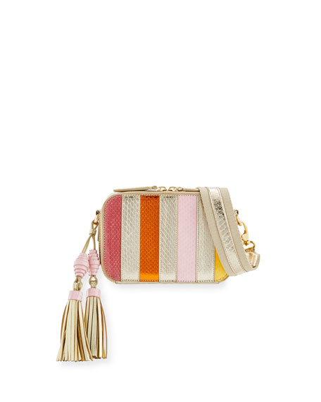 Sophie Snakeskin Camera Crossbody Bag, Pink