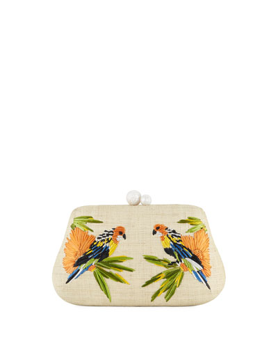 Rosie Small Straw Clutch Bag with Birds