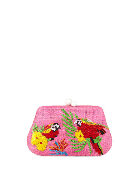 Rosie Small Straw Clutch Bag with Parrots