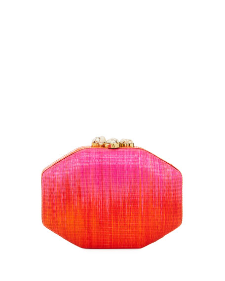 Sofia Straw Ombré Polygon Clutch Bag