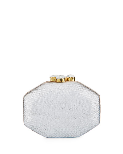 Sofia Straw Clutch Polygon Bag, Silver