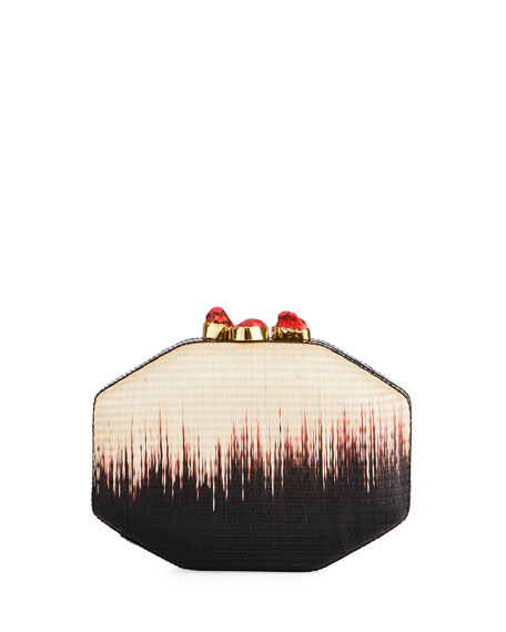 Sofia Straw Ombré Clutch Bag, Multi