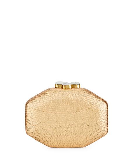Sofia Straw Clutch Bag, Gold
