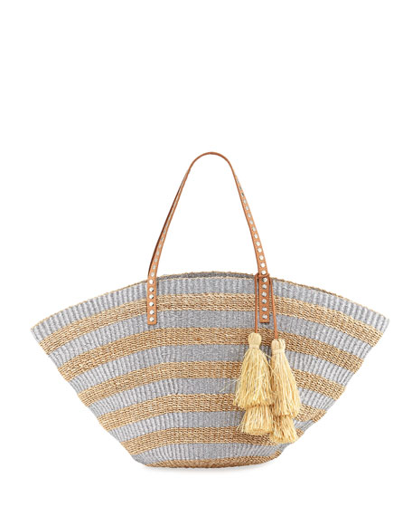 Sunni Large Straw Beach Tote, Silver