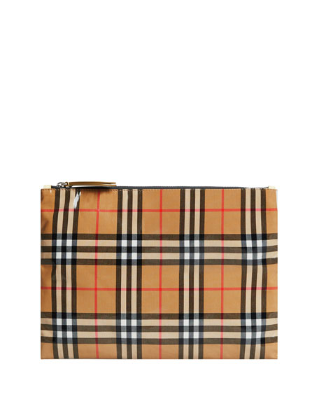 Burberry Coated Vintage Check Medium Pouch Bag