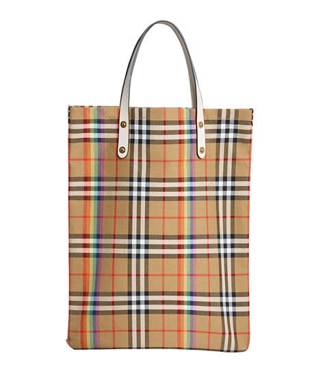 Vintage Check Rainbow Medium Shopper Tote Bag