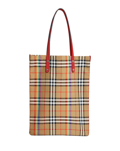 Vintage Rainbow Check Large Shopper Tote Bag