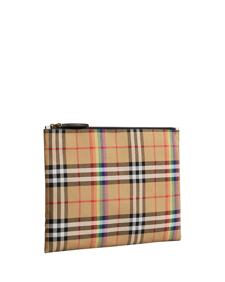 Vintage Rainbow Check Medium Pouch