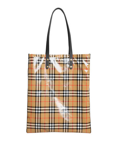 Coated Vintage Check Large Shopper Tote Bag