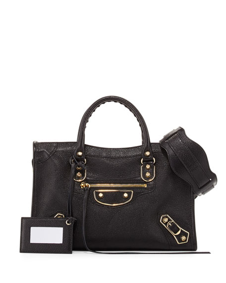 Balenciaga Classic Metallic Edge City Small Bag, Black/Gold