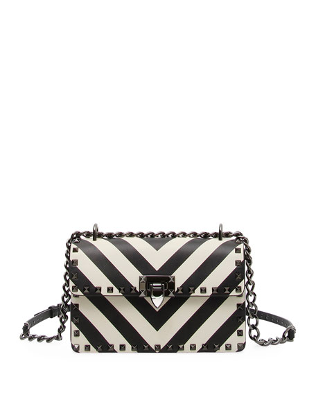 Rockstud V-Stripes Small Shoulder Bag
