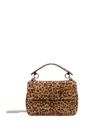 d7e353e01a8d Valentino Garavani Rockstud Spike Medium Leopard-Print Shoulder Bag