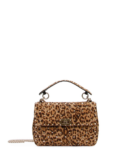 Valentino Garavani Rockstud Spike Medium Leopard-Print Shoulder