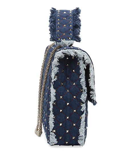Rockstud Spike Maxi Fringe Denim Shoulder Bag