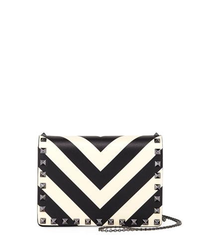 46fed97cfbf8 Valentino Garavani Rockstud V-Stripe Pouch Crossbody Bag