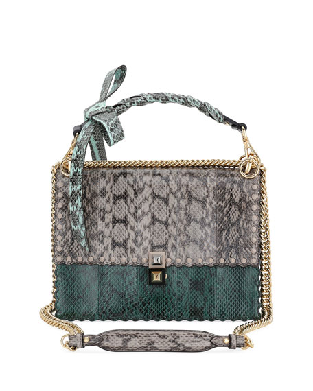 Fendi Kan I Regular Snakeskin and Calf Shoulder