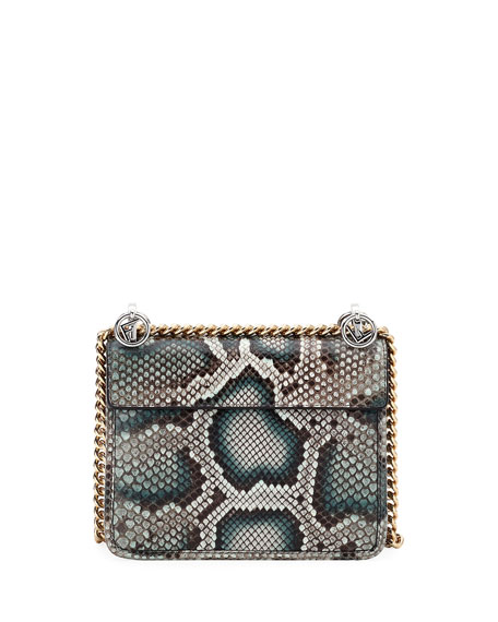 F Logo Kan I Small Python Shoulder Bag