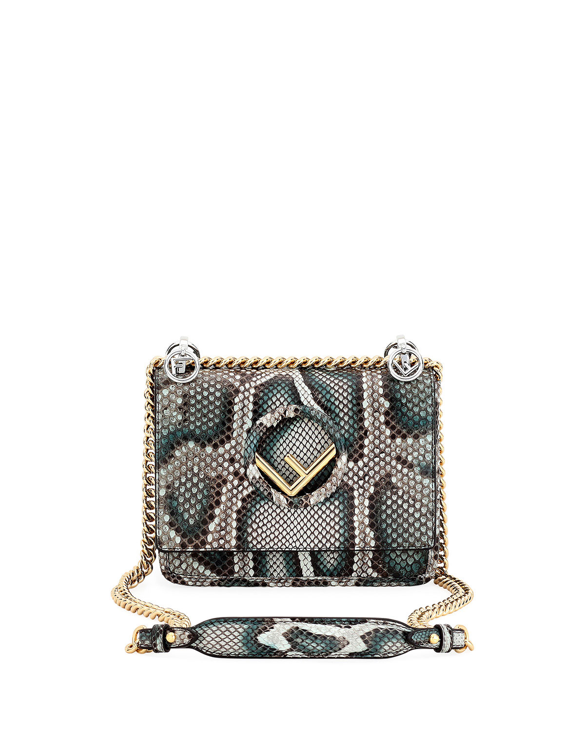 987931f93a Fendi F Logo Kan I Small Python Shoulder Bag