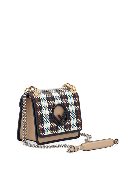 F Logo Kan I Small Tartan Calf Shoulder Bag