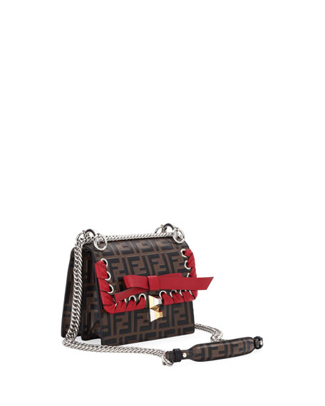 Kan I Small FF Embossed Shoulder Bag with Ribbon