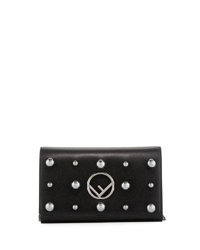 F Logo Studded Calf Liberty Wallet Crossbody Bag
