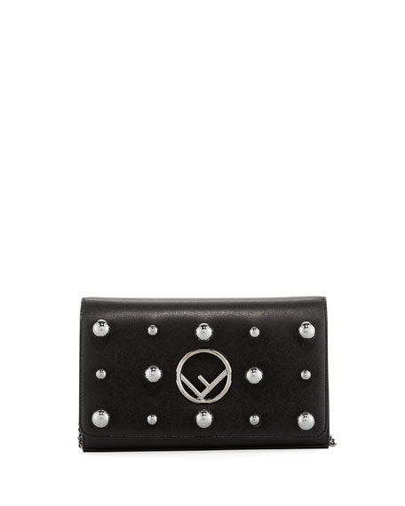 Fendi F Logo Studded Calf Liberty Wallet Crossbody