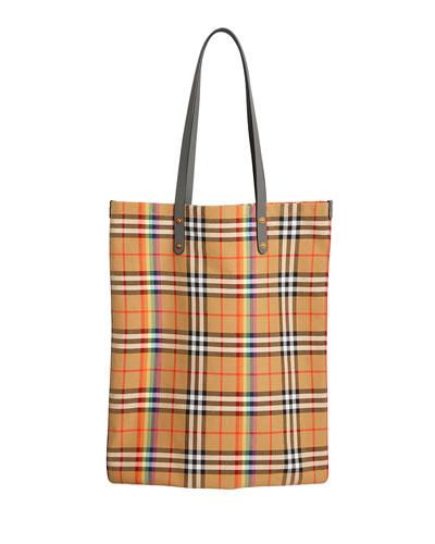 Vintage Check Rainbow Large Shopper Tote Bag