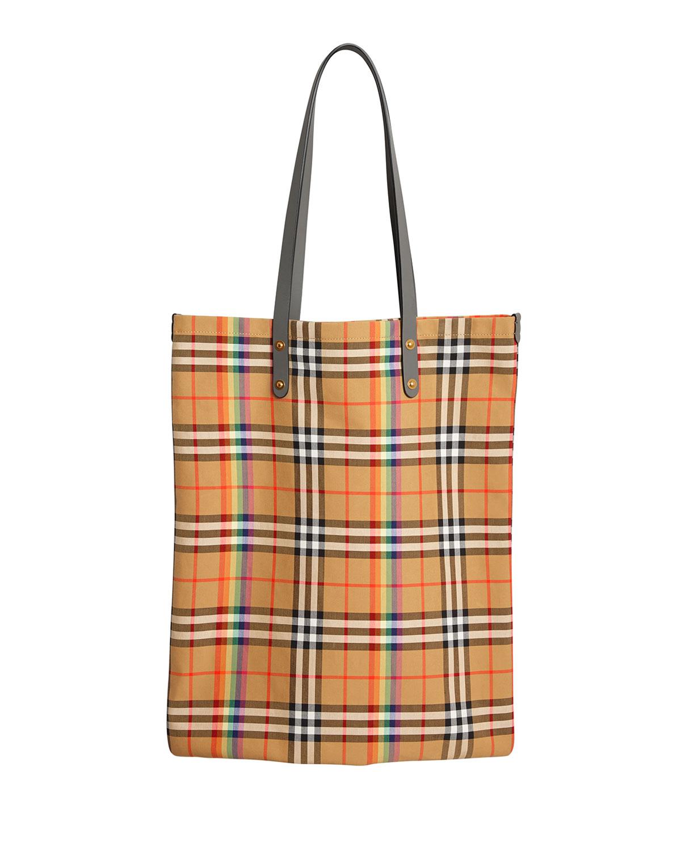 c534ff4caab3 Burberry Vintage Check Rainbow Large Shopper Tote Bag