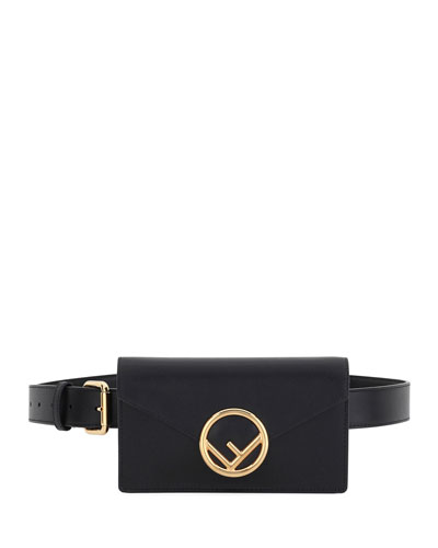 Liberty F Logo Shiny Calf Belt Bag/Fanny Pack with Shoulder Chain