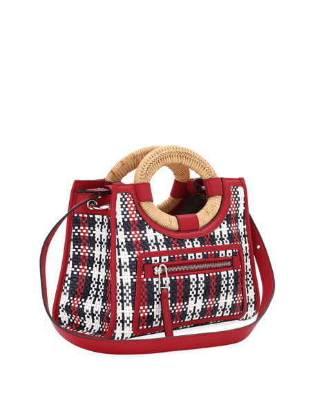 Runaway Small Tartan Straw and Century Calf Tote Shopping Bag