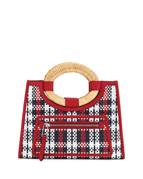 Runaway Small Tartan Straw And Century Calf Tote Shopping Bag, Red Pattern