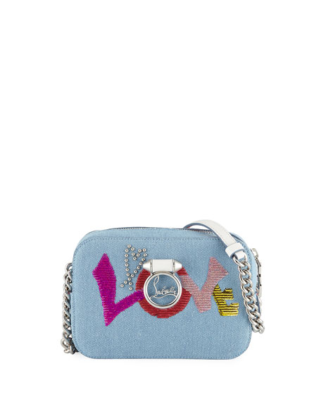 Ruby Lou Mini Love Denim Crossbody Bag by Christian Louboutin