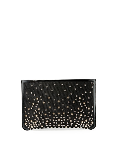 Christian Louboutin Loubi Glitter Diamanté Clutch Bag