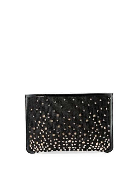Christian Louboutin Loubi Glitter Diamante Clutch Bag
