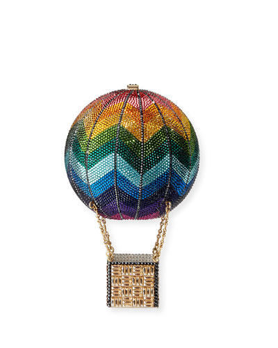 Rainbow Hot Air Balloon Crystal Clutch Bag