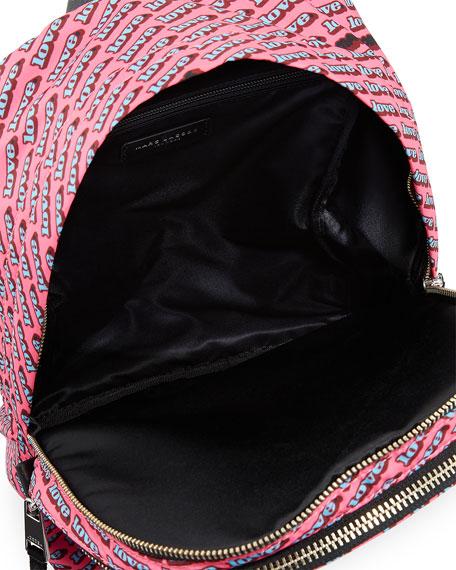 Medium Love-Print Canvas Backpack