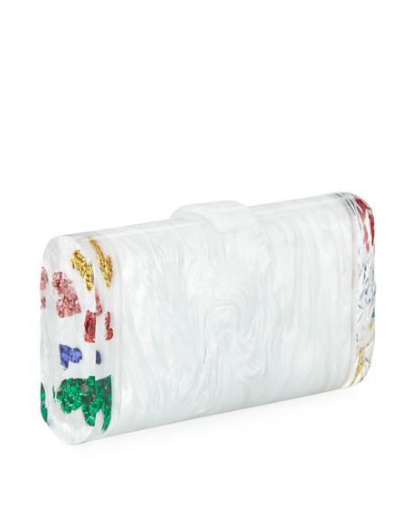 Lara Backlit Confetti Rainbow Hearts Clutch Bag