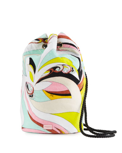 Waterproof Parrot-Print Terry Cloth Bucket Beach Bag
