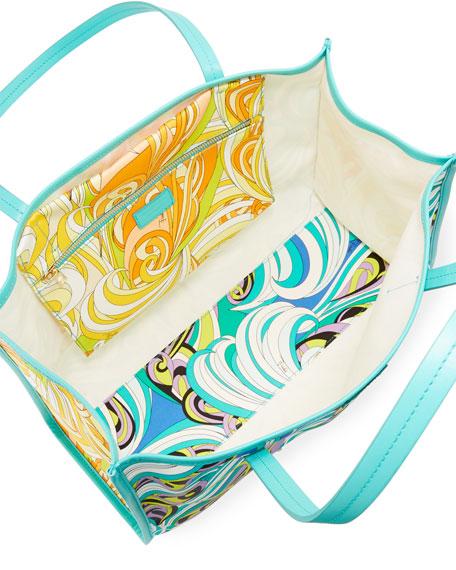 Baia Printed Beach Tote Bag with Leather Trim
