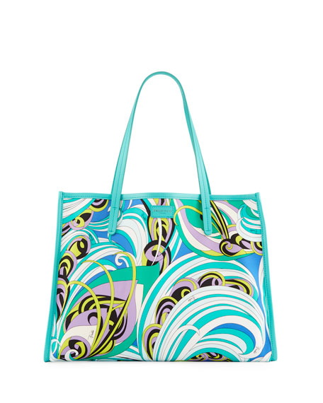 Baia Printed Beach Tote Bag with Leather Trim