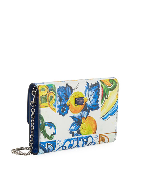 Jeweled Printed Leather Wallet On A Chain