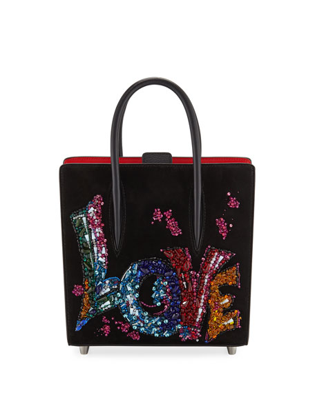 Christian Louboutin Paloma Small Love Embroidered Suede Tote