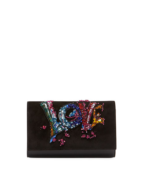 Christian Louboutin Paloma Love-Embellished Suede Clutch Bag