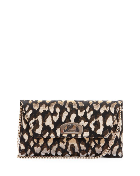 Christian Louboutin Vero Dodat Metallic Leopard-Print Clutch Bag