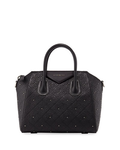 Antigona Small Studded Leather Satchel Bag