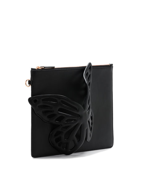 Flossy Butterfly Leather Pochette Clutch Bag